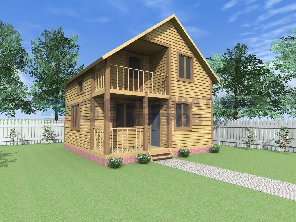 Проект полутораэтажного каркасного дома 6x6 метров с террасо.