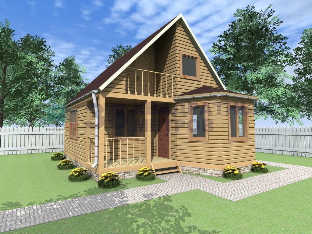 Каркасный дом с террасой, балконом и эркером 6 на 6 метров.