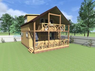 Двухэтажный каркасный дом 6 на 8 метров с террасой и балконо.