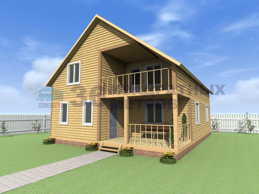 Каркасный двухэтажный дом 10 на 8 метров с террасой и балкон.