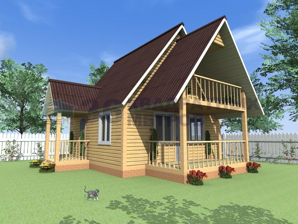 Дом из бруса размером 6x6 метров с балконом и террасой.