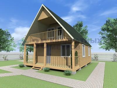 Проект брусового дома 7.5x6 метров с террасой и балконом.