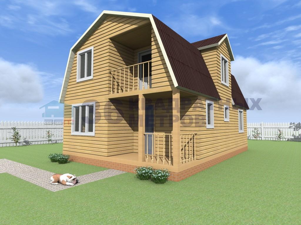 Дома из бруса 6х9 с балконом..