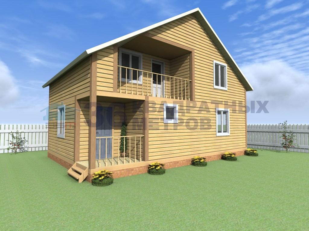 Дом с террасой и балконом из бруса размером 6x9 метров.